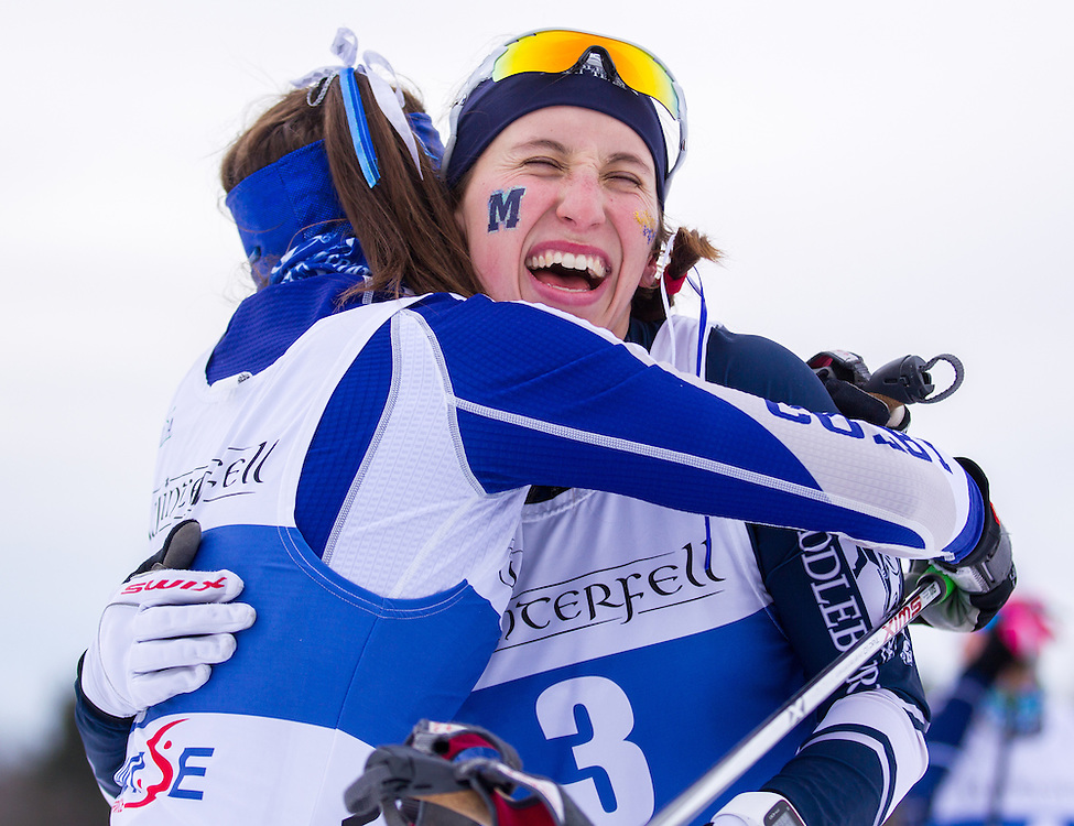 Kelsey Phinney of Middlebury College and Olivia Amber of Colby College after the Colby College Winter Carnival 15 Kilometer Classic Mass Start at Quarry Road on January 23, 2016 in Waterville, ME. (Dustin Satloff)