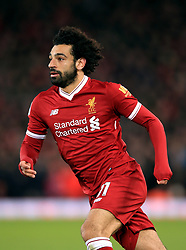 """Liverpool's Mohamed Salah during the Premier League match at Anfield, Liverpool. PRESS ASSOCIATION Photo. Picture date: Sunday February 4, 2018. See PA story SOCCER Liverpool. Photo credit should read: Peter Byrne/PA Wire. RESTRICTIONS: EDITORIAL USE ONLY No use with unauthorised audio, video, data, fixture lists, club/league logos or """"live"""" services. Online in-match use limited to 75 images, no video emulation. No use in betting, games or single club/league/player publications"""