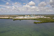 turkey point nuclear power plant from the air in Biscayne Bay, Florida.