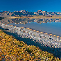 Mount Morrison and Laurel Mountain of the Eastern Sierra Nevada crest reflect in Big Alkali Lake in Long Valley near Mammoth Lakes, California.