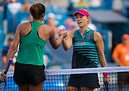 Madison Keys of the United States and Angelique Kerber of Germany shake hands at the net after their third-round match at the 2018 Western and Southern Open WTA Premier 5 tennis tournament, Cincinnati, Ohio, USA, on August 16th 2018 - Photo Rob Prange / SpainProSportsImages / DPPI / ProSportsImages / DPPI