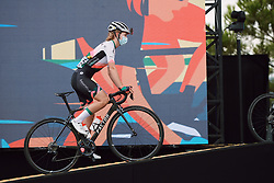 Karlijn Swinkels (NED) climbs onto the presentation stage at the 2020 La Course By Le Tour with FDJ, a 96 km road race in Nice, France on August 29, 2020. Photo by Sean Robinson/velofocus.com