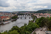 Charles Bridge (in the back) and the centeer of Prague seen from Letna Park.