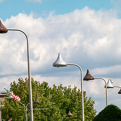 Hershey, PA, USA - October 8, 2014: The street lights are shaped like chocolate kisses in the town of Hershey, Pennsylvania.