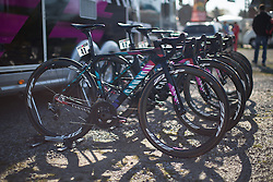 The bikes of CANYON//SRAM Racing are lined up before the Flèche Wallonne Femmes - a 137km road race from starting and finishing in Huy on April 20, 2016 in Liege, Belgium.
