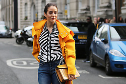 Fashionista arrives at the Julien Macdonald Autumn / Winter 2017 London Fashion Week show at Goldsmiths Hall, London on Saturday February 18, 2017