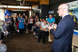Pictured:  John Swinney speaks to the volunteers<br /> Deputy First Minister and local MSP  John Swinney visited Perth Airport today to visit Scotland's Charity Air Ambulance. The Perthshire North MSP will meet volunteers and present certificates to mark the start of National Volunteers' Week.<br /> <br /> <br /> Ger Harley | EEm 1 June 2018