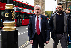 © Licensed to London News Pictures. 06/11/2018. London, UK. Shadow Chancellor John McDonnell arrives at St Margaret's Church in Westminster for the Parliamentary Armistice Service. Photo credit: Rob Pinney/LNP