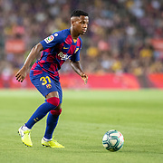 BARCELONA, SPAIN - August 25:  Anssumane Fati #31 of Barcelona in action during the Barcelona V  Real Betis, La Liga regular season match at  Estadio Camp Nou on August 25th 2019 in Barcelona, Spain. (Photo by Tim Clayton/Corbis via Getty Images)