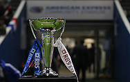 The Six Nations Trophy during the Under 20s Six Nations Championship match between England and France at the American Express Community Stadium, Brighton and Hove, England on 20 March 2015. Photo by Phil Duncan.