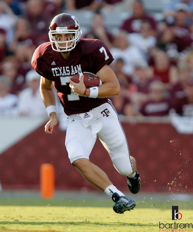 Texas A&M quarterback Stephen McGee runs for a gain during the third quarter against Montana State on Saturday, Sept. 1, 2007. Texas A&M won the game 38-7 at Kyle Field in College Station, TX.
