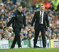 Photo: Aidan Ellis.<br /> Everton v Newcastle. The Barclays Premiership.<br /> 27/11/2005.<br /> its all smiles for Everton's David Moyes but its not so for Graeme Souness