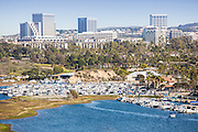 Newport Harbor with Fashion Island in the distance