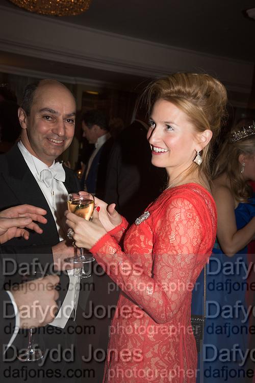 KAMRAN MOGHADAM ; JOSSELINE ILIFFE,, The Royal Caledonian Ball 2015. Grosvenor House. Park Lane, London. 1 May 2015.