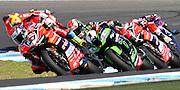 World Superbike Championship. Round 1. Phillip Island. Australia. Sunday 26.2. 2017 WSBK Motorcycle race, Motorrad-Rennen. <br /> 33, Marco MELANDRI,  ITA, Ducati Panigale R ahead of  #1 Jonathan Rea (GBR) Kawasaki Racing Team - later the race winner,  <br /> - fee liable image, copyright © ATP/ Damir IVKA