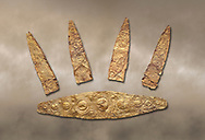 Gold Mycenaean diadem with leaf shaped plates from Grave I, Grave Circle A, Myenae, Greece. National Archaeological Museum Athens. Cat No 184, 185. 16th century BC .<br /> <br /> If you prefer to buy from our ALAMY PHOTO LIBRARY  Collection visit : https://www.alamy.com/portfolio/paul-williams-funkystock/mycenaean-art-artefacts.html . Type -   Athens    - into the LOWER SEARCH WITHIN GALLERY box. Refine search by adding background colour, place, museum etc<br /> <br /> Visit our MYCENAEN ART PHOTO COLLECTIONS for more photos to download  as wall art prints https://funkystock.photoshelter.com/gallery-collection/Pictures-Images-of-Ancient-Mycenaean-Art-Artefacts-Archaeology-Sites/C0000xRC5WLQcbhQ