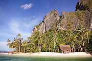 Isolated cabin along an  exotic beach, Palawan Island, Philippines, Southeast Asia