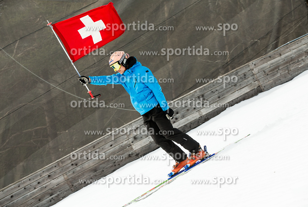 Flag of Switzerland during Ski Flying Hill Men's Team Competition at Day 3 of FIS Ski Jumping World Cup Final 2017, on March 25, 2017 in Planica, Slovenia. Photo by Vid Ponikvar / Sportida