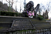 Karlovy Vary (Karlsbad)/Tschechische Republik, CZE, 14.12.06: Familien Grabstätte mit einer Engelskulptur und Deutscher Inschrift auf dem Hauptfriedhof in Drahovice, Karlovy Vary (Karlsbad).<br /> <br /> Karlovy Vary (Karlsbad)/Czech Republic, CZE, 14.12.06: Statue of an angel and German language inscription decorating one of the family graves on the Central Cemetery in Drahovice, Karlovy Vary (Karlsbad).