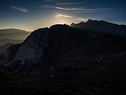 Panoramic view of Picos De Europa mountains at sunset