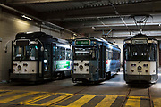 Three De Lijn electric tams parked in the depot in Ghent, Belgium.