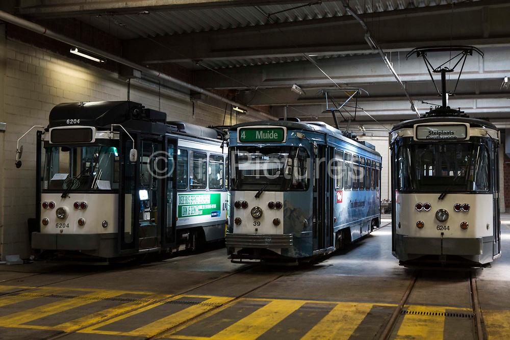 Three De Lijn electric tams parked in the depot in Ghent, Belgium.
