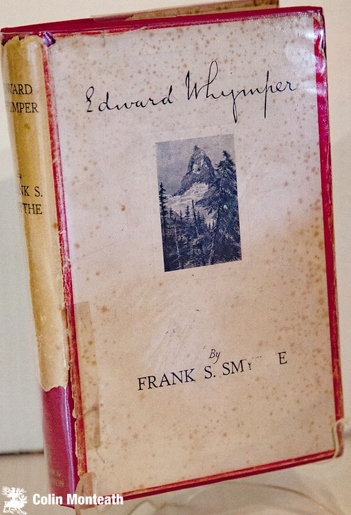 EDWARD WHYMPER - Frank Smythe, Hodder & Stoughton, London, 1st edn., 1940, original red boards (no fading) , gilt titles, rare dustjacket (foxed) with piece missing lower spine, Internally VG+ with previous owner's name on fep., lovely B&W plates -  Together with Camp Six, Edward Whymper  is the rarest of Smythe's many books - the definitive early biography of a remarkable climber, expedition traveller and artist  who made the first ascents of Chimborazo, Cayambe, Antisana, Carihuairazo, Sara Urco, Cotocachi & Sincholagua. Whymper was best known for the first ascent of the Matterhorn.<br /> $NZ110