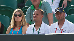 LONDON, ENGLAND - Wednesday, June 23, 2010: Lucie Safarova (CZE) watches her boyfriend Tomas Berdych (CZE) with fitness coach David Vydra and coach Tomas Krupa during the Gentlemen's Singles 2nd Round match on day three of the Wimbledon Lawn Tennis Championships at the All England Lawn Tennis and Croquet Club. (Pic by David Rawcliffe/Propaganda)