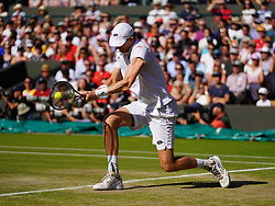 July 11, 2018 - London, England, U.S. - LONDON, ENG - JULY 11: Kevin Anderson (RSA) in action during his quarter final match on July 11, 2018, defeating number 1 seed Roger Federer (SUI) 13 -11 in the fifth set at the Wimbledon Championships played at the AELTC, London, England. (Photo by Cynthia Lum/Icon Sportswire) (Credit Image: © Cynthia Lum/Icon SMI via ZUMA Press)