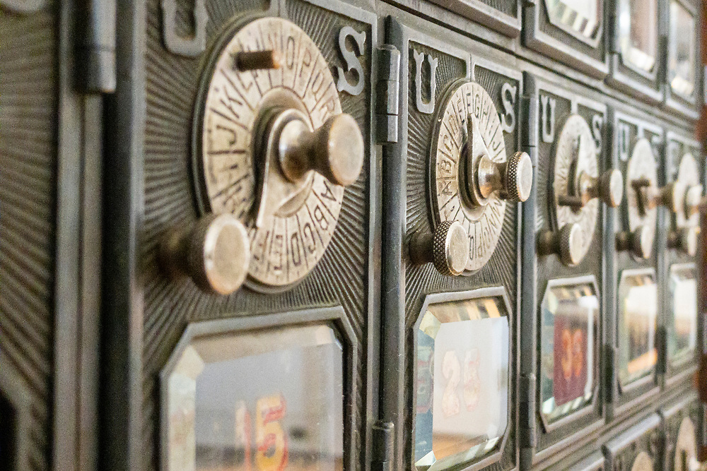 Old mailboxes on display at the Old Exchange and Provost Dungeon in Charleston, South Carolina on Wednesday, June 17, 2020. Copyright 2020 Jason Barnette