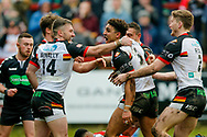 Bradford Bulls winger Dalton Grant (5) scores a try and celebrates to make the score 0-28 during the Betfred League 1 match between Keighley Cougars and Bradford Bulls at Cougar Park, Keighley, United Kingdom on 11 March 2018. Picture by Simon Davies.