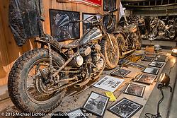 Hwzn Mfg Company's Harley-Davidson WLA bober fresh from the mud at the Mooneyes Yokohama Hot Rod & Custom Show. Yokohama, Japan. December 6, 2015.  Photography ©2015 Michael Lichter.