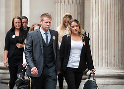 © Licensed to London News Pictures. 04/08/2015. Bristol, UK.  Family and friends, led by Sam Galsworthy the uncle of Becky Watts, arrive for the Plea Hearing in the Becky Watts murder trial at Bristol Crown Court.  Photo credit : Simon Chapman/LNP