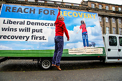 Pictured: <br /> Scottish Liberal Democrat Leader Willie Rennie was joined by Sir Ed Davey as he launchebd a campaign poster. Mr Rennie said Scotland can put recovery first with Lib Dem gains in reach.<br /> <br /> Ger Harley | EEm 4 May 2021