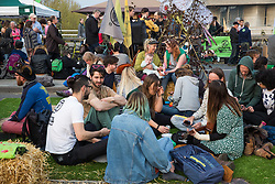 London, UK. 17th April 2019. Climate change activists from Extinction Rebellion continue to occupy Waterloo Bridge on the third day of International Rebellion activities.