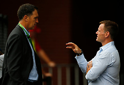 Cricket Australia's CEO James Sutherland talks with High Performance Director Pat Howard during a nets session at the Adelaide Oval, Adelaide.