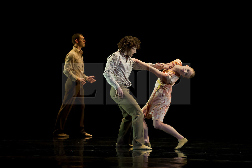 """© Copyright licensed to London News Pictures. 08/11/2010. Jonathan Goddard, Thomasin Gulgec & Gemma Nixon dance in """"Awakenings"""". Rambert Dance Company presents """"Awakenings', based on the book by Oliver Sachs, at Sadler's Wells, London. Choreographed by Aletta Collins, and with a specially-commissioned score by American composer, Tobias Picker, this is a premiere for London. The company are: Angela Towler, Pieter Symonds, Gemma Nixon, Thomasin Gulgec, Jonathan Goddard, Robin Gladwin, Malgorzat Dzierzon, Eryck Brahmania. Commissioned by Daniel Katz Limited. Lighting design by Yaron Abulafia. Design by Miriam buether."""