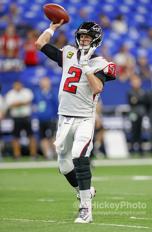 INDIANAPOLIS, IN - SEPTEMBER 22: Matt Ryan #2 of the Atlanta Falcons throws the ball during the game against the Indianapolis Colts at Lucas Oil Stadium on September 22, 2019 in Indianapolis, Indiana. (Photo by Michael Hickey/Getty Images) *** Local Caption *** Matt Ryan