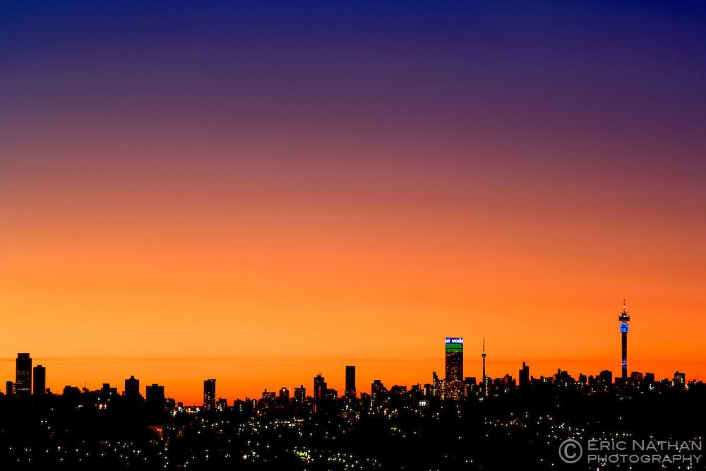 The Johannesburg skyline at dusk, South Africa.