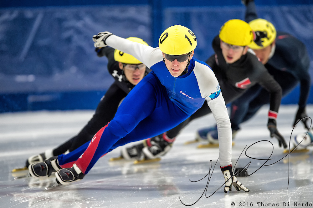 March 18, 2016 - Verona, WI - Conor McDermott-Mostowy, skater number 190 competes in US Speedskating Short Track Age Group Nationals and AmCup Final held at the Verona Ice Arena.