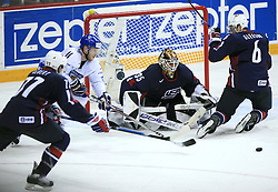 Tom Gilbert (77), Saku Koivu (11), goalkeeper Robert Esche (35) and Timothy Gleason (6) at play-off round quarterfinals ice-hockey game USA  vs Finland at IIHF WC 2008 in Halifax,  on May 14, 2008 in Metro Center, Halifax, Nova Scotia,Canada. Win of Finland 3 : 2. (Photo by Vid Ponikvar / Sportal Images)