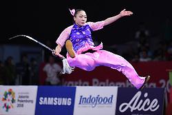 August 19, 2018 - Jakarta, Indonesia - GUO MENGJIAO of China competes during the Women's Jianshu & Qiangshu All-Round at the 18th Asian Games in Jakarta, Indonesia. (Credit Image: © Pan Yulong/Xinhua via ZUMA Wire)