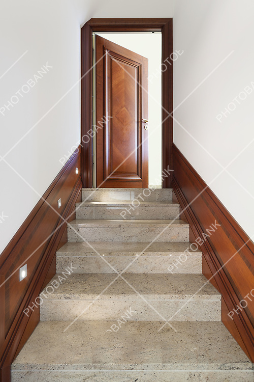Architecture, interior of building, marble staircase view