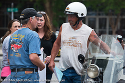 Hosted stop at Coker Tire in Chattanooga, Tennessee after the finish of stage 3 of the Motorcycle Cannonball Cross-Country Endurance Run, which on this day ran from Columbus, GA to Chatanooga, TN., USA. Sunday, September 7, 2014.  Photography ©2014 Michael Lichter.