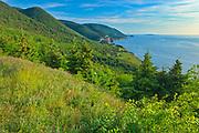 Rocky shoreline along the Cabot Strait (Atlantic Ocean). Cabot Trail. Cape Breton Island. Appalachain Mountains chain.<br />Cape Breton Highlands National Park<br />Nova Scotia<br />Canada