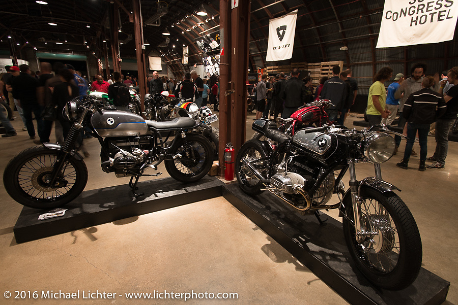 Custom BMW Motorcycles on Saturday in the Handbuilt Motorcycle Show. Austin, TX, USA. April 9, 2016.  Photography ©2016 Michael Lichter.