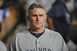 May 1, 2018 - Houston, TX, U.S. - HOUSTON, TX - MAY 01: New York Yankees Third Base Coach Phil Nevin (53) makes his way through the dugout during the baseball game between the New York Yankees and Houston Astros on May 1, 2018 at Minute Maid Park in Houston, Texas (Photo by Ken Murray/Icon Sportswire) (Credit Image: © Ken Murray/Icon SMI via ZUMA Press)