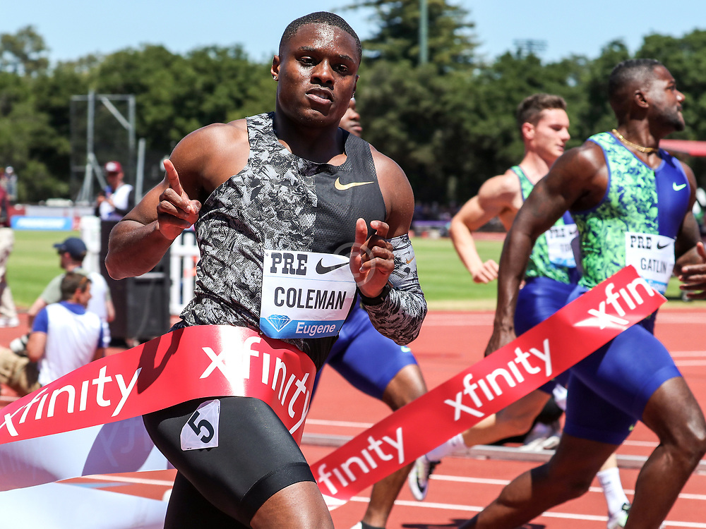 Christian Coleman, USA, reacts to winning the 100 meters with world-leading time of 9.81 at 2019 The Prefontaine Classic Track & Field<br /> IAAF Diamond League