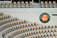 Empty corner seats inside Philippe Chatrier stadium during the Roland Garros 2020, Grand Slam tennis tournament, on October 5, 2020 at Roland Garros stadium in Paris, France - Photo Stephane Allaman / ProSportsImages / DPPI