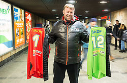 Supporter of Slovenia Joze Jeraj with jerseys of Matevz Skok of Slovenia and Gorazd Skof of Slovenia in City centre of Wroclaw during Men's EHF EURO 2016, on January 19, 2016 in Wroclaw, Poland. Photo by Vid Ponikvar / Sportida